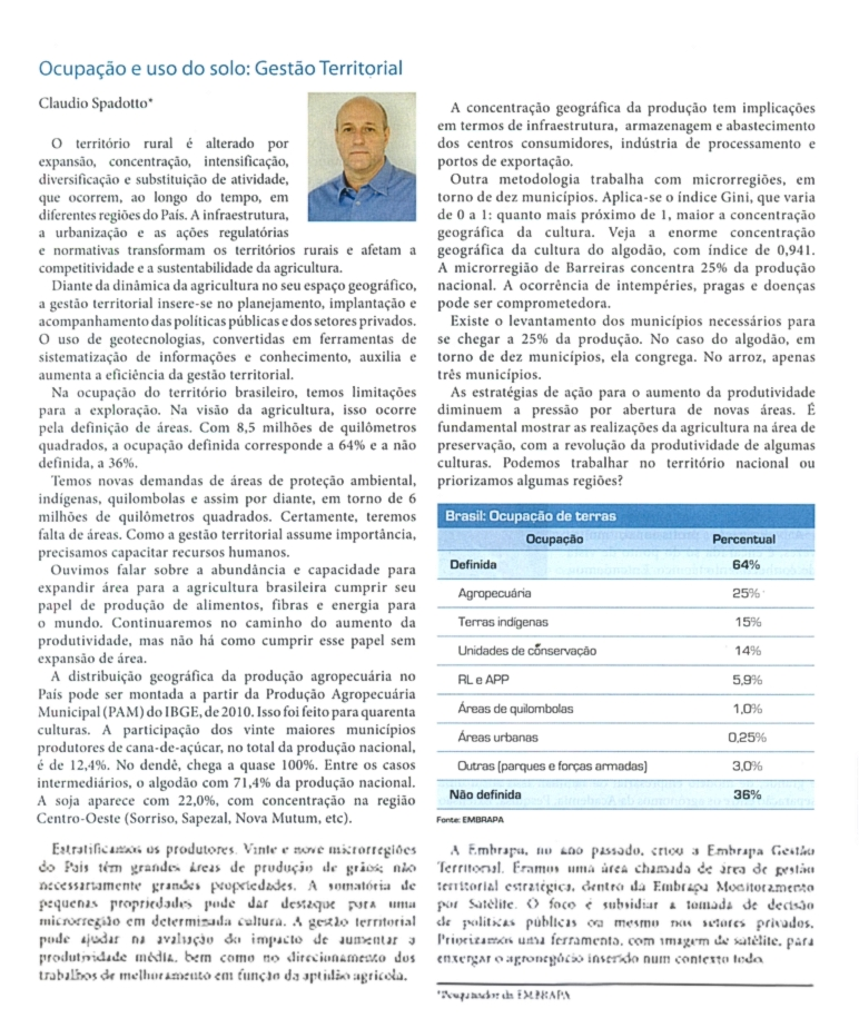 Revista Agroanalysis publica texto do conselheiro Cláudio Spadotto